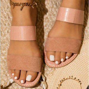 Shoes - Double Strap Croc & Faux Suede Sandals